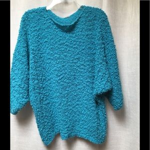Sweaters - Turquoise blue sweater with dolman sleeves